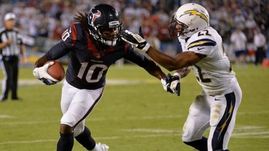 DeAndre Hopkins tries to score against the San Diego Chargers